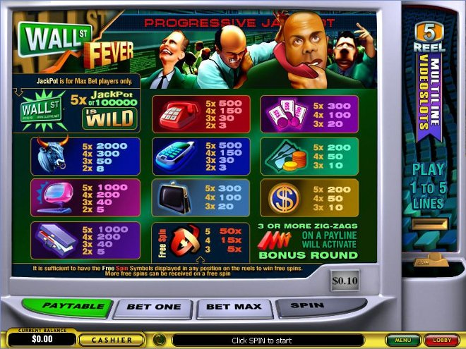 Wall St. Fever Progressive Slot